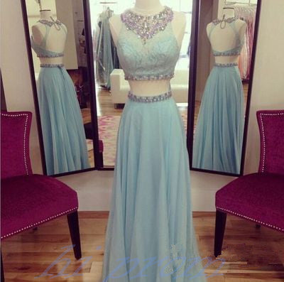 Light Blue Prom Dresses 2 Piece Prom Gowns2 Pieces Prom Dresses