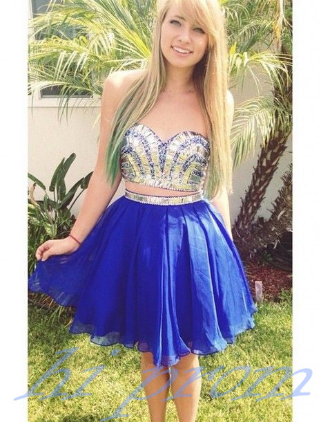 Royal Blue Homecoming Dress2 Piece Homecoming Dressesbeading Homecoming Gownsshort Prom Gownsweet 16 Dressbling Homecoming Dress2 Pieces