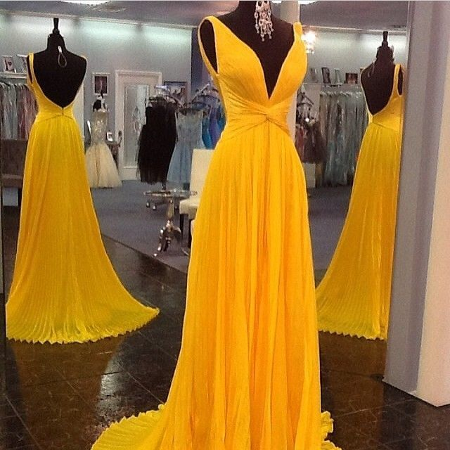 Yellow Prom Dresses,Backless Prom Gown,Open Back Evening Dress ...