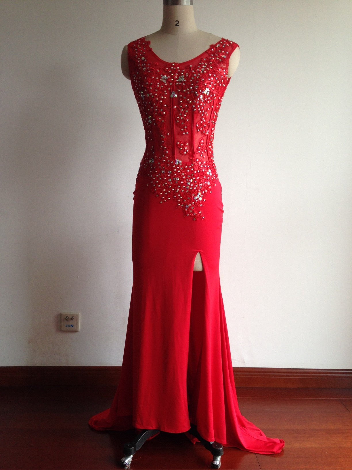 2018 Fashion Prom Dresses,Red Prom Dress,Slit Formal Gown,Red Prom ...