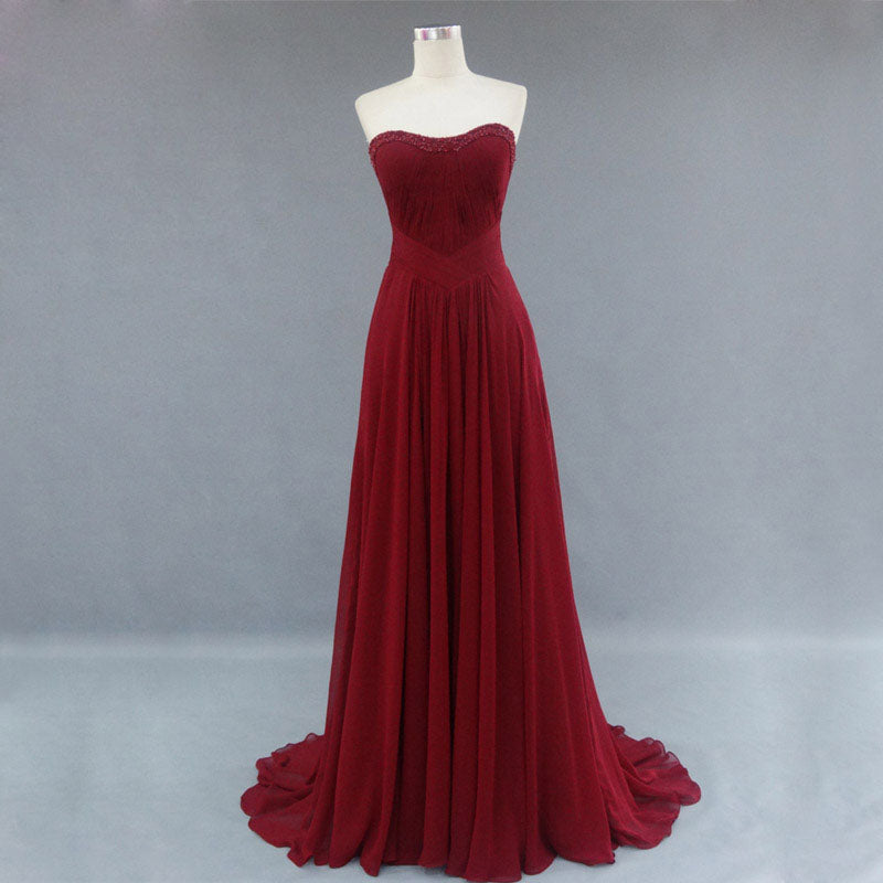 Burgundy Bridesmaid Gownpretty Prom Dresseschiffon Prom Gown