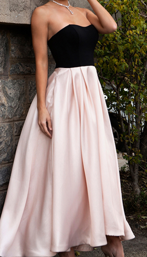 High Low Prom Dresses,Simple Prom Dress,Pink Prom Gown,Black Bodice ...