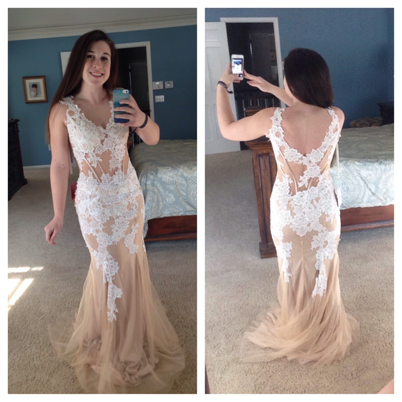 White Prom Dresses,Lace Prom Dress,Champagne Prom Gown,Tulle Prom ...