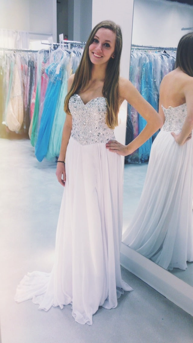 White Prom Dresses,Sparkly Prom Dress,Sparkle Prom Gown,Bling Prom ...