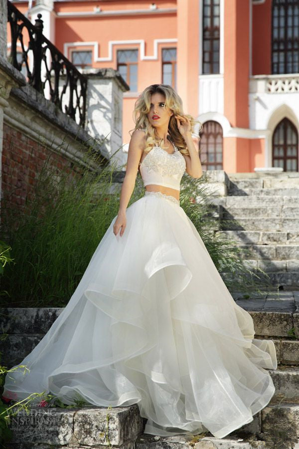 White Wedding Dresses2 Pieces Wedding Gownruffled Wedding Gowns