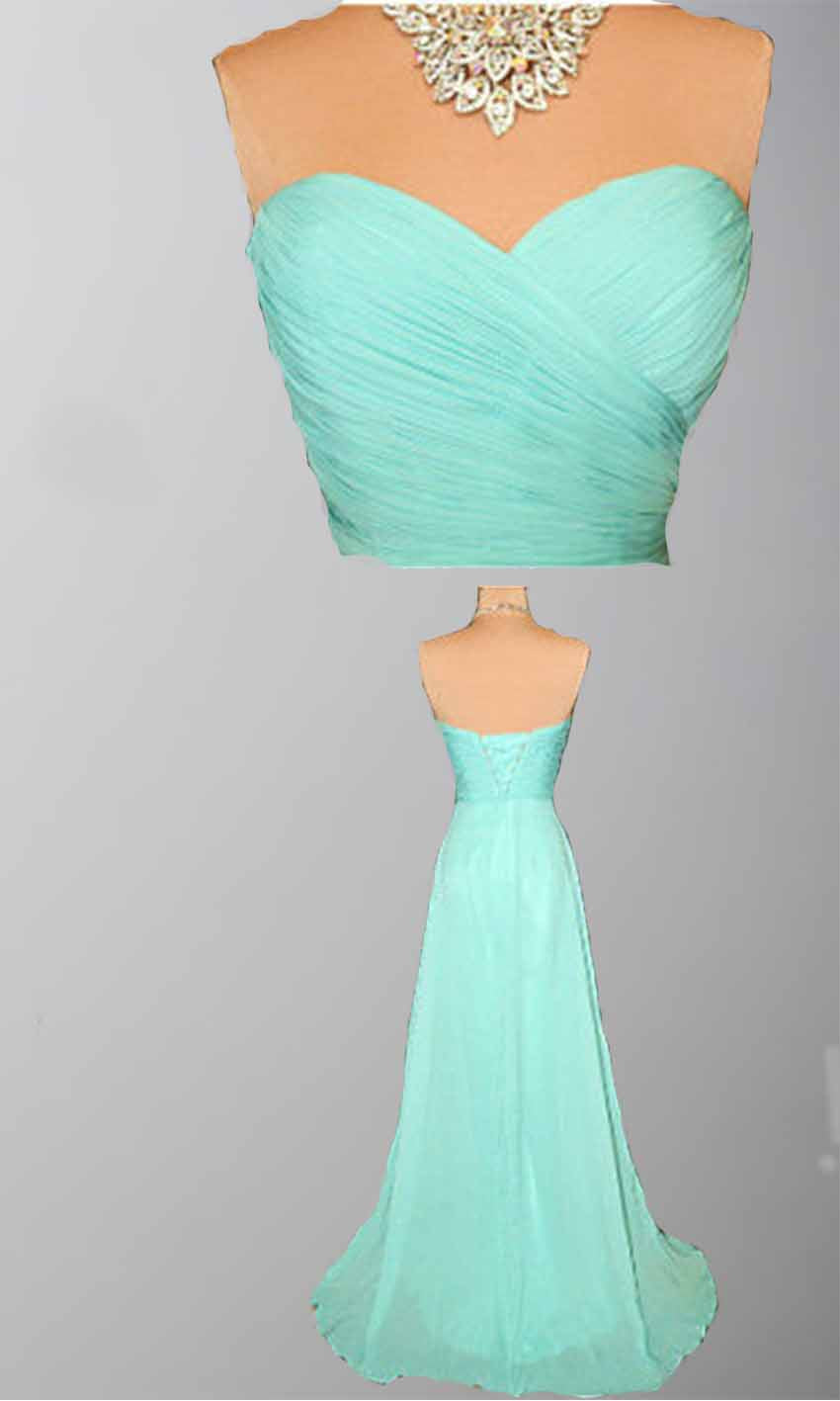 Mint Green Bridesmaid Gown,Pretty Prom Dresses,Chiffon Prom Gown ...