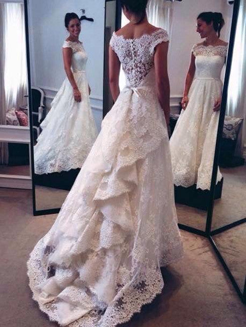 White Wedding Dresses,Long Wedding Gown,Lace Wedding Gowns,Modest ...