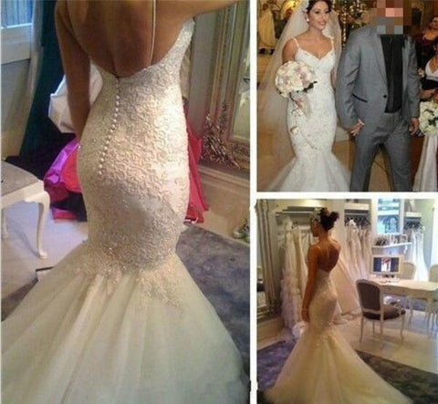 White Wedding Dresses,Mermaid Wedding Gown,Lace Wedding Gowns,Lace ...