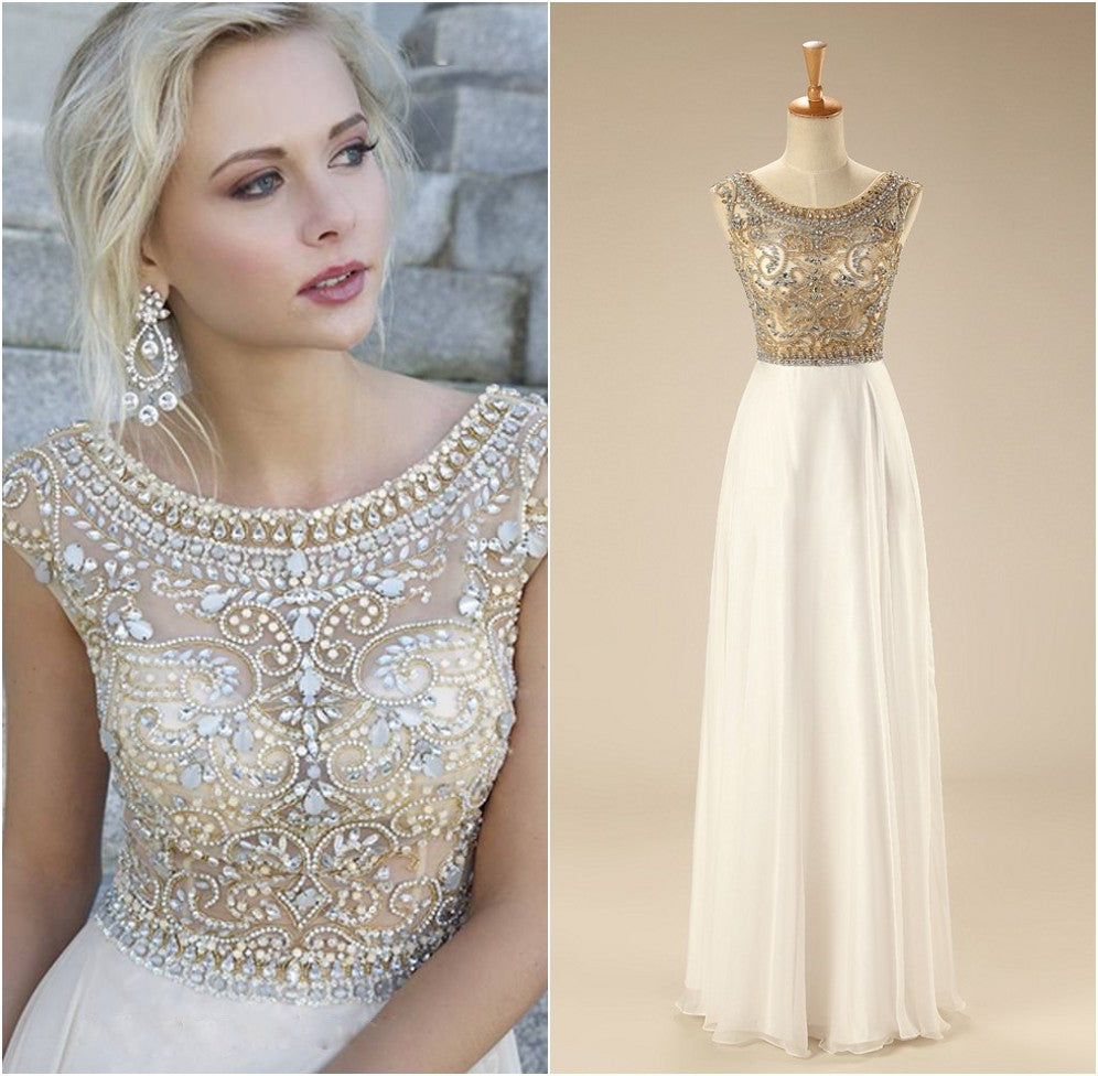 White Prom Dresses,Silver Beadings Evening Gowns,Modest Formal Dress ...