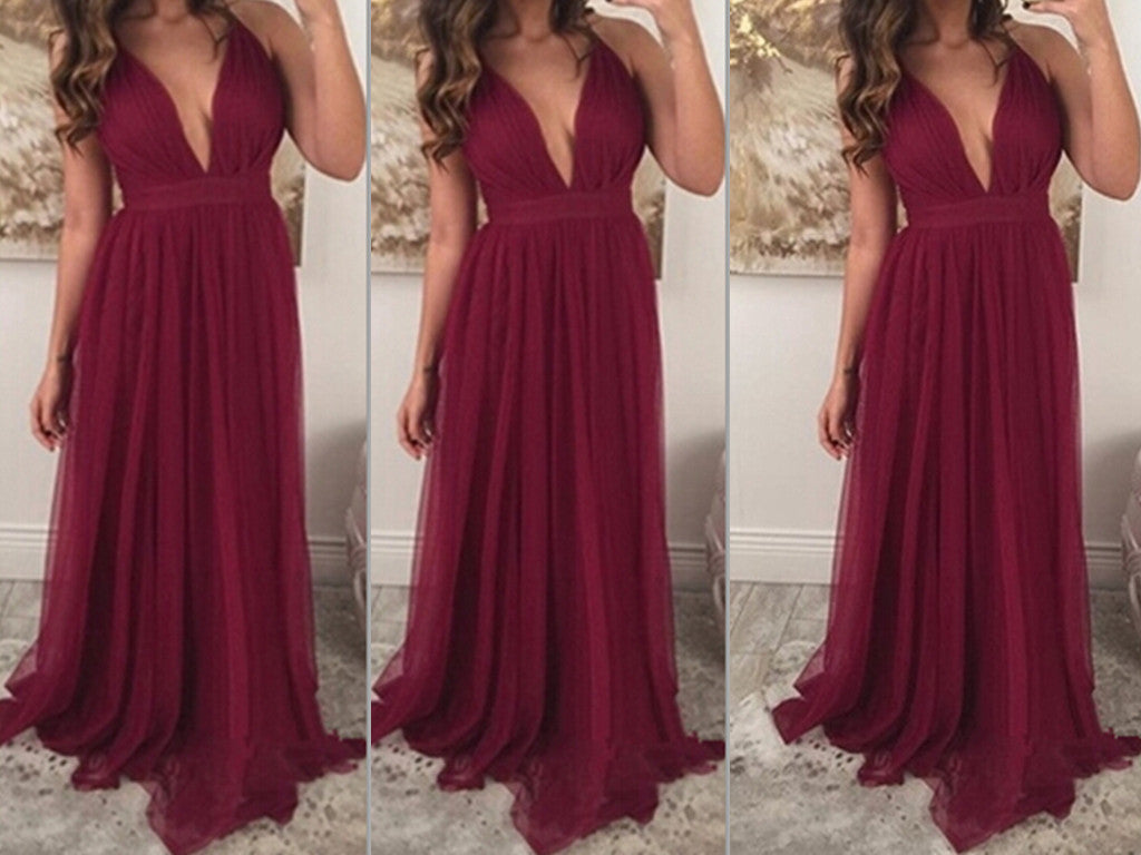 Burgundy Prom Dresses,Chiffon Prom Gown,Wine Red Prom Gowns,Simple ...