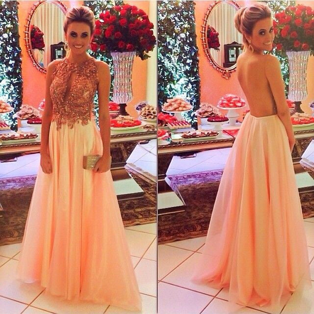Backless Prom Dresses,Peach Prom Dress,Backless Prom Gown,Open Back ...