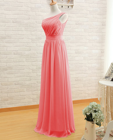 One Shoulder Bridesmaid Gown,Pretty Prom Dresses,Chiffon Prom Gown ...
