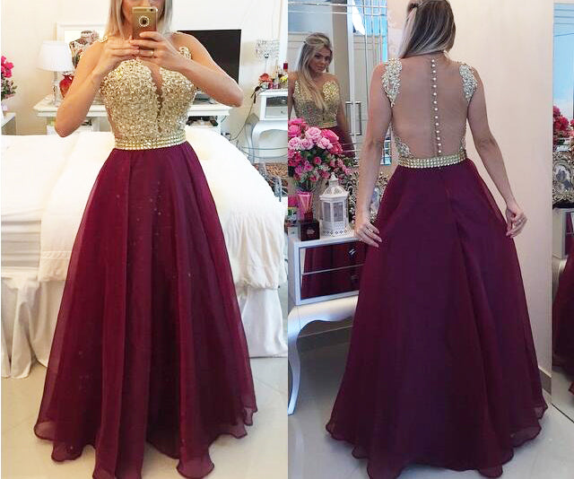Backless Red Prom Dresses with Gold