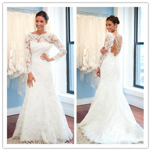 White Wedding Dresses,Long Sleeves Wedding Gown,Lace Wedding Gowns ...