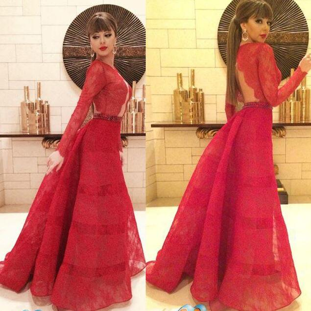 Red Prom Dresses,Lace Evening Dress,Prom Gowns With Sheer Long ...