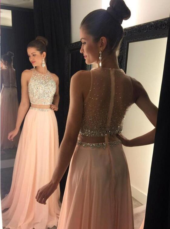 2 pieces Prom Dresses,2 piece Evening Gowns,Simple Formal Dresses ...