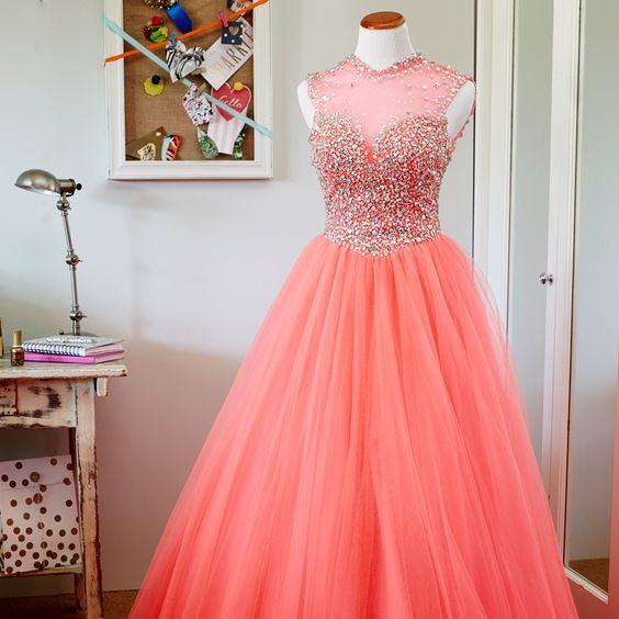 Blush Pink Prom Dressball Gown Prom Dressprincess Prom Gownbeaded