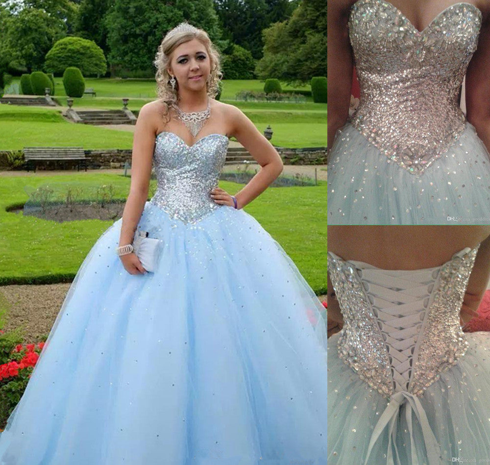 Light Blue Prom Dressball Gown Prom Dressprincess Prom Gownbeaded