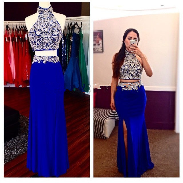 Royal Blue Prom Dresses,2 Piece Prom Gowns,2 pieces Prom Dresses ...