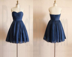 Homecoming Dress,Cute Navy Blue Prom Dress,Short Tulle Prom Dresses MT20181403