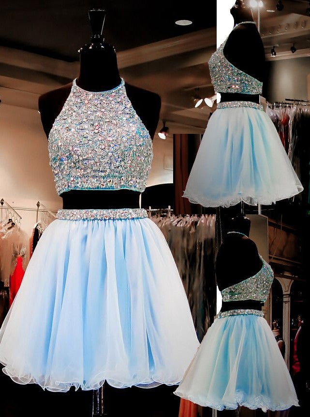 Light Sky Blue Homecoming Dressestulle Homecoming Dress2 Pieces