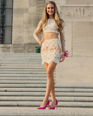 Homecoming Dress,two piece homecoming dresses,long sleeves homecoming dresses,lace homecoming dresses,short prom dresses 2018 MT20187084