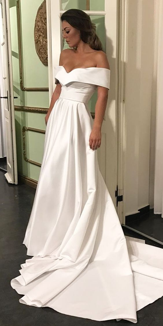 Romantic Off The Shoulder Wedding Dresses, Satin Wedding Dress ...