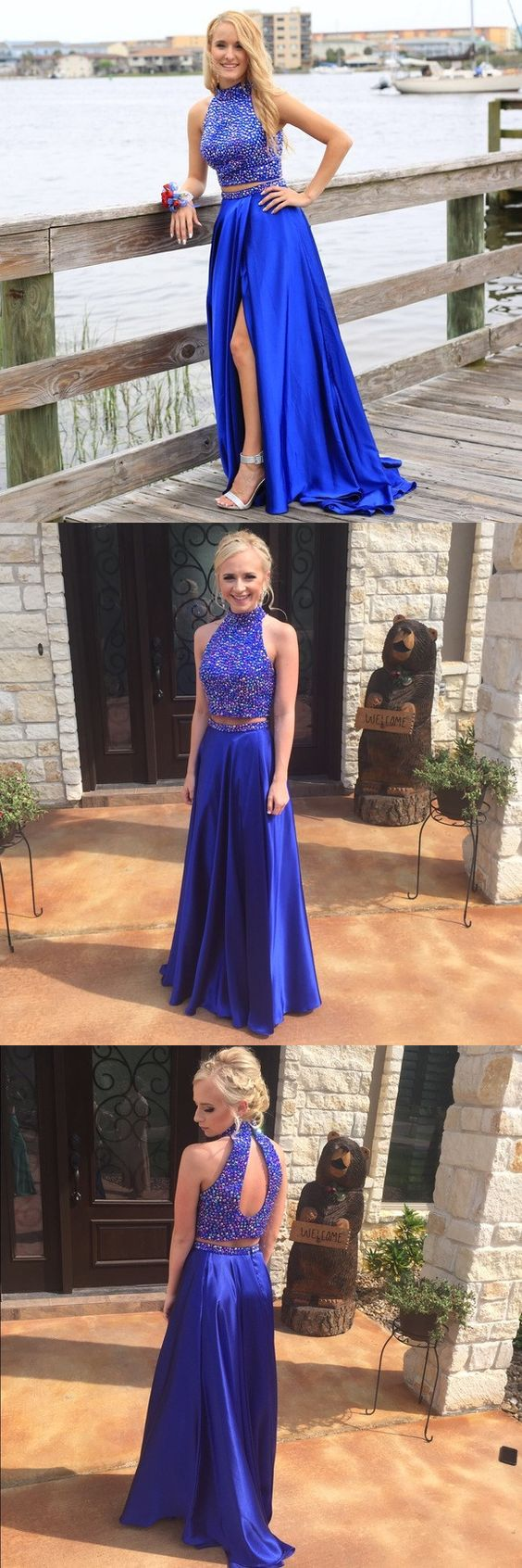 Royal Blue Prom Dresses2 Piece Prom Gowntwo Piece Prom Dresses