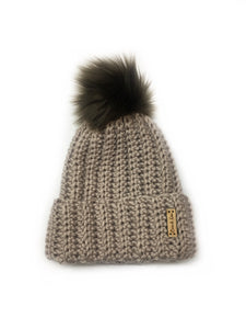 Adult ribbed beanie - Biscuit