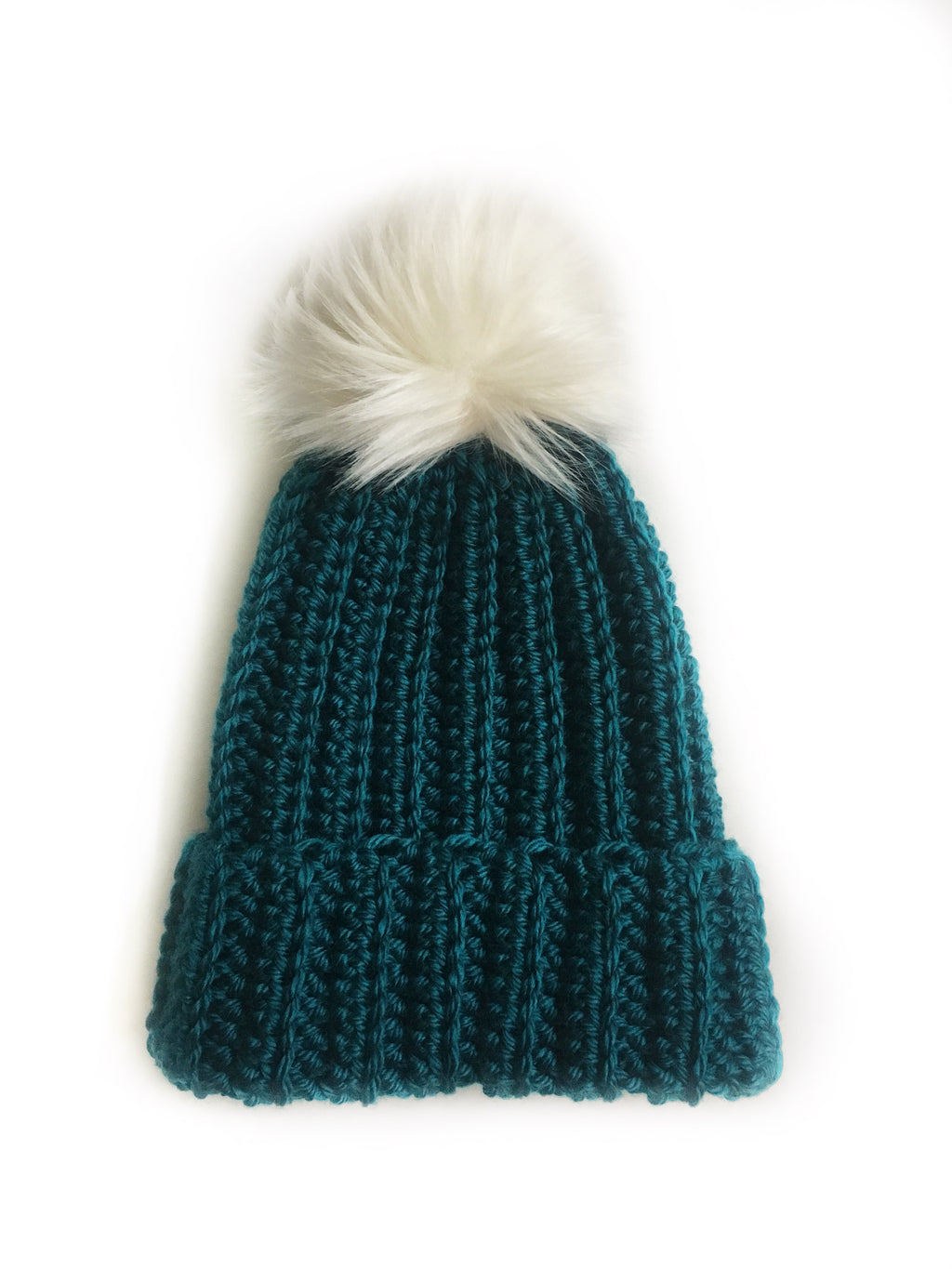 Teal Ribbed Beanie with Faux Fur pom