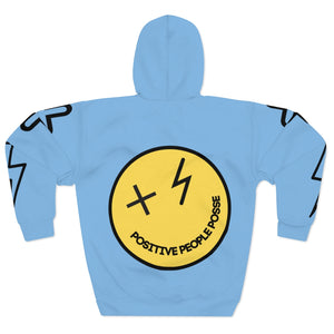 Light Blue Smiley Face Unisex Pullover Hoodie - +Positive People Posse+