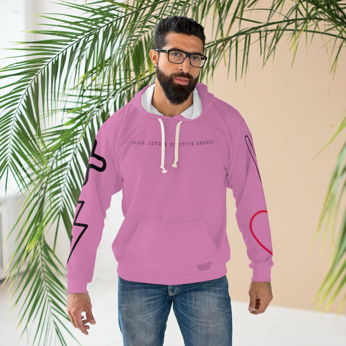 Rose Peace, Love & Positive Energy Unisex Pullover Hoodie - +Positive People Posse+