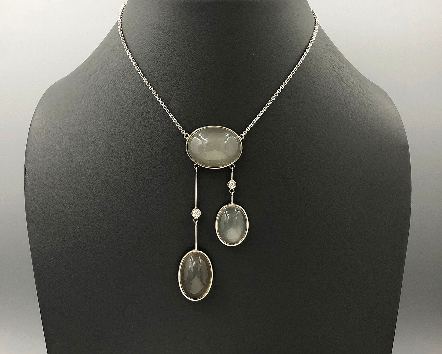 Triple Asymmetrical Moonstone Necklace