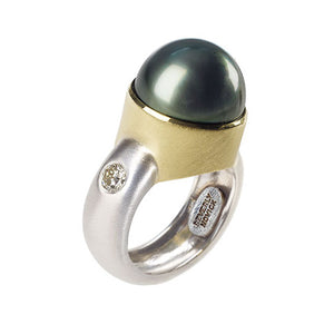 Black South Sea Pearl Ring with Gold Bezel