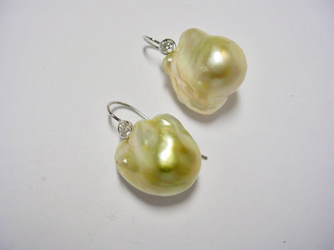 Golden Fresh Water Pearl Earrings