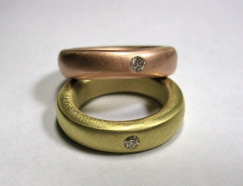 Hearty Band With Burnished Diamonds