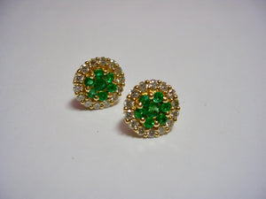 Clustered Emerald/Diamond Studs