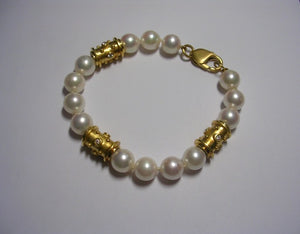 Cultured Pearl Bracelet With Gold Barrels