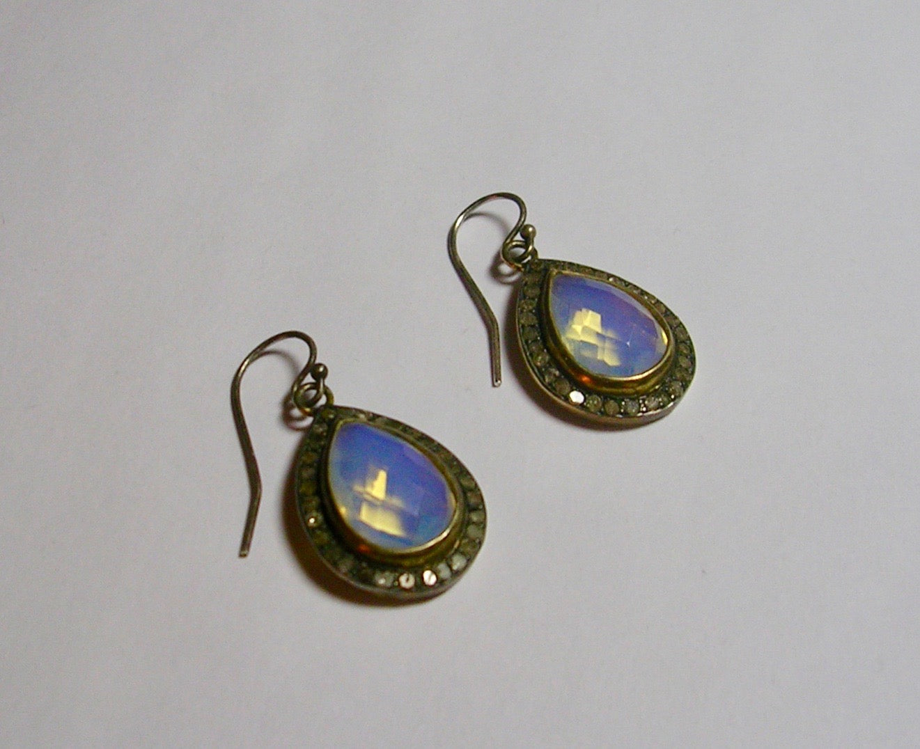 Rainbow Moonstone Pear Shaped Earrings