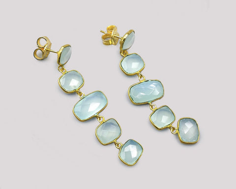 Green Chalcedony Dancing Earrings