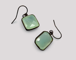 Green Chalcedony Soft Square Earrings
