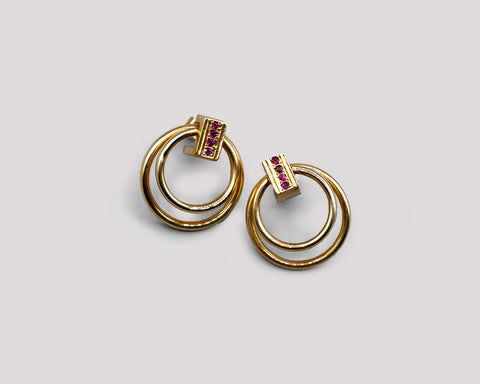 Garnet And Gold Double Hoops