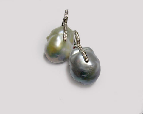 South Sea Pearl Earrings with Diamond Bar Overlay