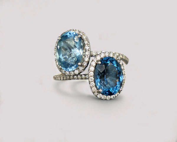 The Power Couple: Aquamarine and London Blue Topaz Rings