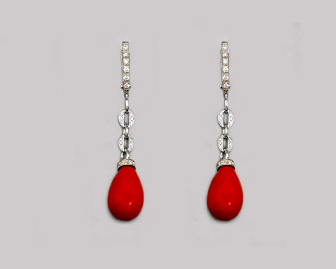 Deep Coral Diamond Drop Earrings
