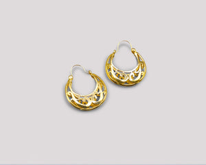 Small Puffed Filigree Hoops