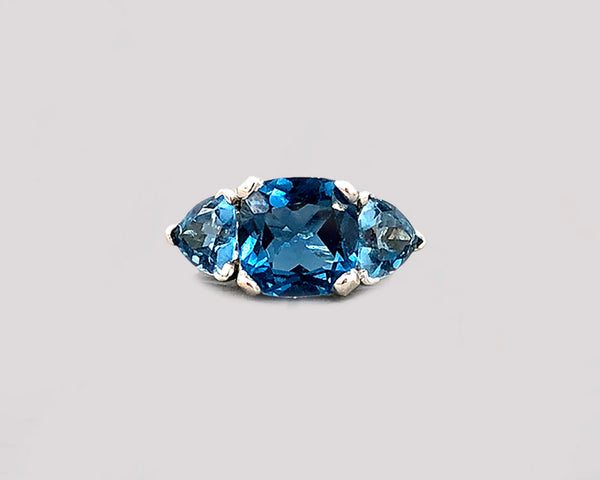 London Blue Topaz Three Stone Ring