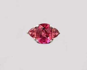 Pink Tourmaline Three Stone Ring