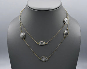 Chain Gang Collection- Grey Rutilated Quartz Stone Necklace