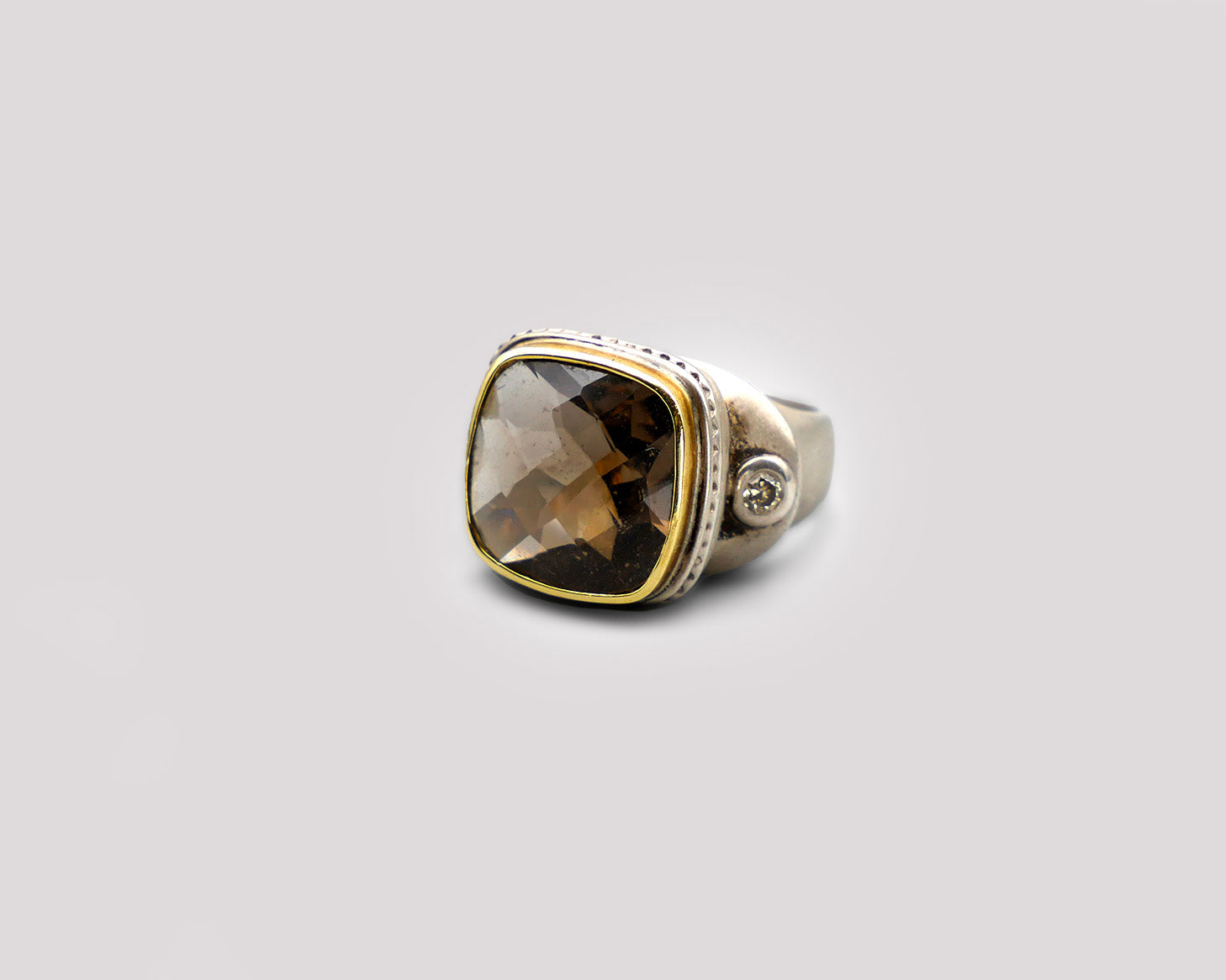 Smokey Topaz Silver Ring